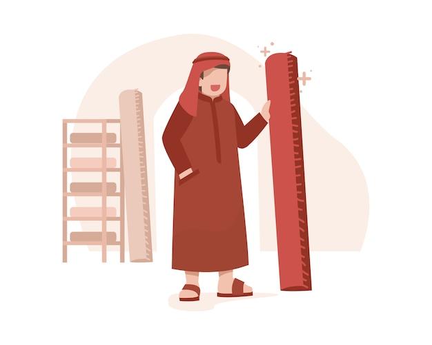 Um homem árabe vende ilustração de tapetes