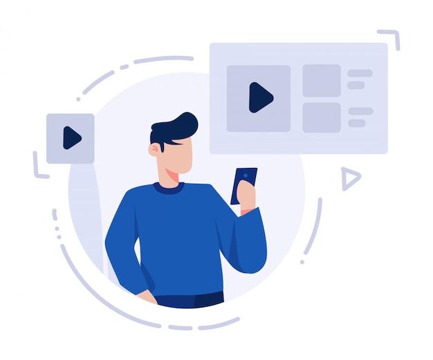 Um homem assistindo vídeo na ilustração do smartphone
