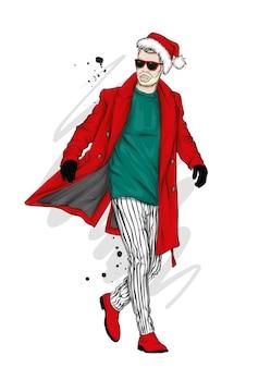 Um homem bonito com um casaco comprido, calças, sapatos e óculos.