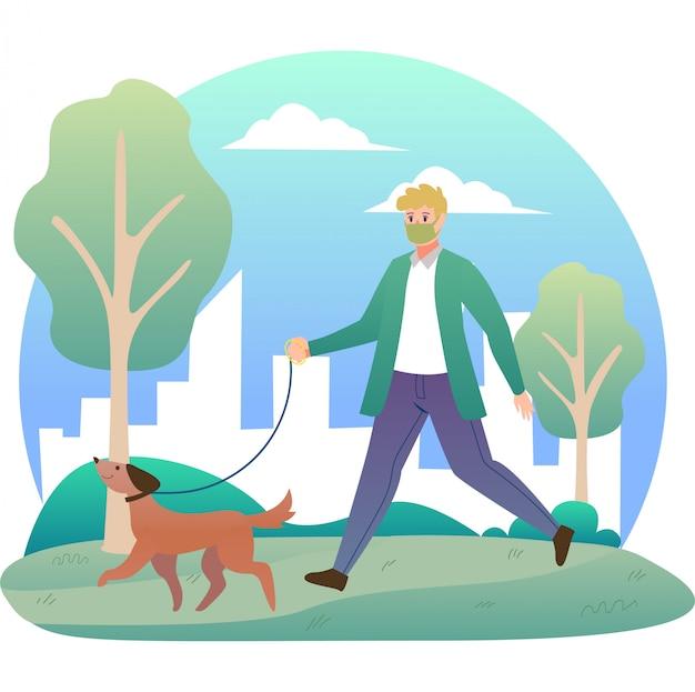Um homem caminhando lá fora com sua ilustração de cachorro