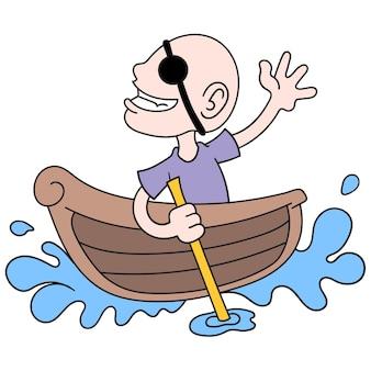 Um homem careca se torna um pirata sozinho em um pequeno barco, arte de ilustração vetorial. imagem de ícone do doodle kawaii.