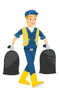 Um homem carrega dois saco de lixo isolado no fundo branco