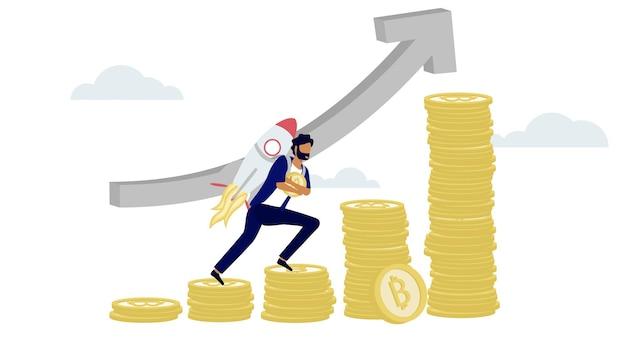 Um homem carrega um foguete enquanto sobe o degrau da torre de bitcoin criptomoeda em um preço crescente de alta.