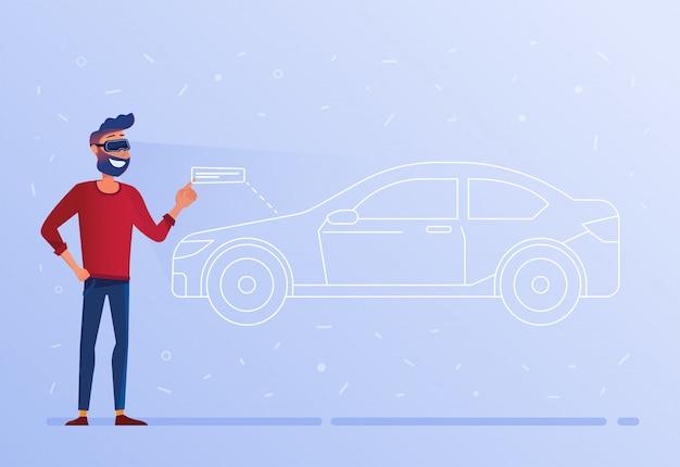 Um homem caucasiano nos auriculares de vr que testa o carro virtual.