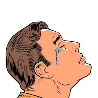 Um homem chorando emoções humanas tristeza, humor, tristeza