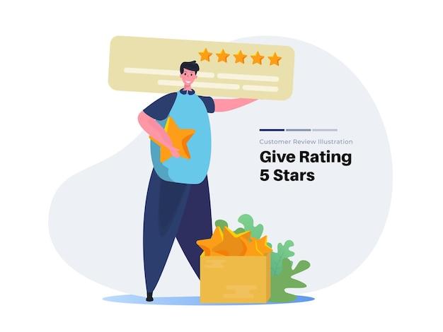 Um homem com 5 estrelas de avaliação e avaliação