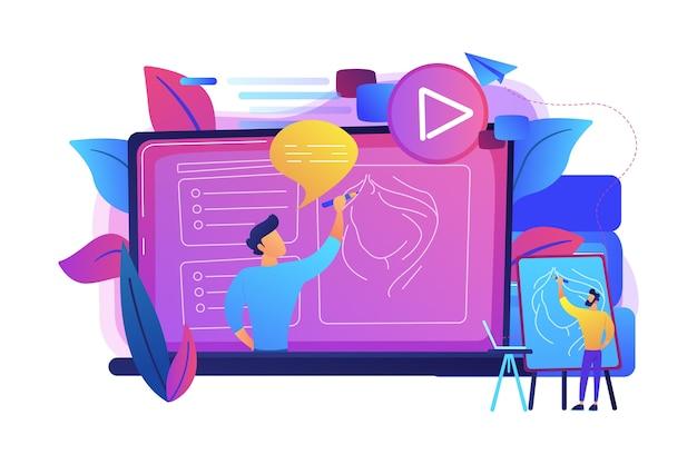 Um homem com cavalete antes da tela com vídeo aprendendo a desenhar uma ilustração de retrato