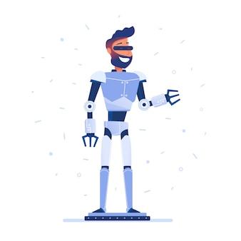 Um homem com corpo de robô no fone de ouvido de vr.