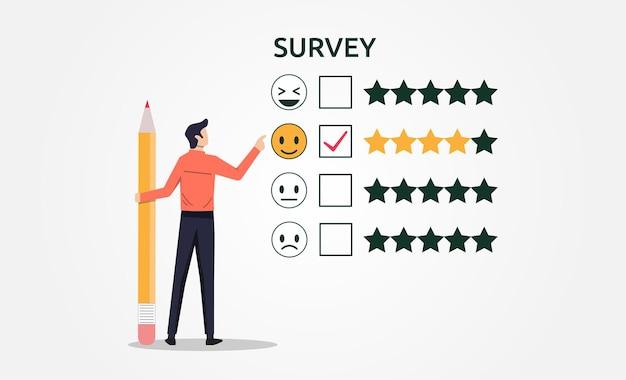 Um homem com lápis preenchendo o conceito de formulário de feedback de pesquisa
