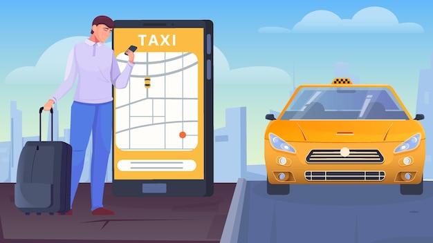 Um homem com malas pede um táxi por meio da ilustração plana do aplicativo