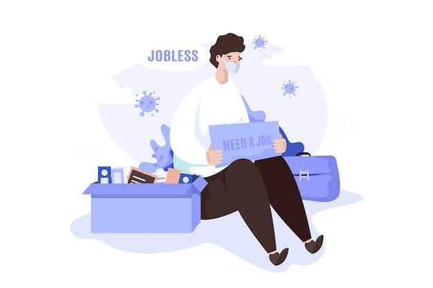 Um homem com necessidade de uma ilustração de sinalização de trabalho