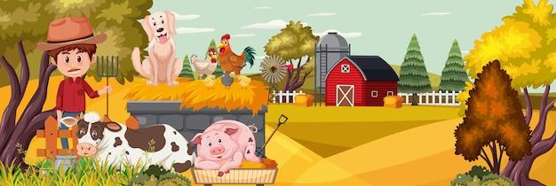 Um homem com um animal de fazenda na paisagem horizontal de fazenda ao pôr do sol