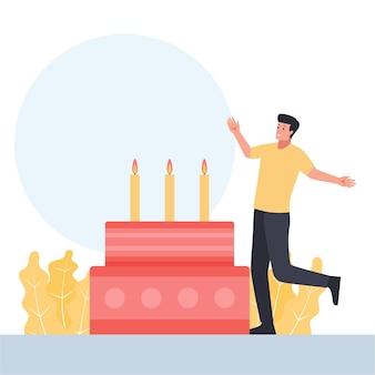 Um homem com um gesto feliz comemora a festa de aniversário