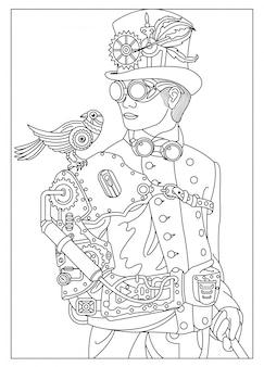 Um homem com um pássaro no estilo de steampunk
