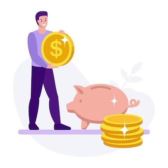 Um homem com uma calculadora ao lado de um cofrinho economize dinheiro, financie conceitos de negócios