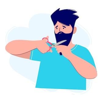 Um homem com uma camiseta brilhante corta a barba com uma tesoura.