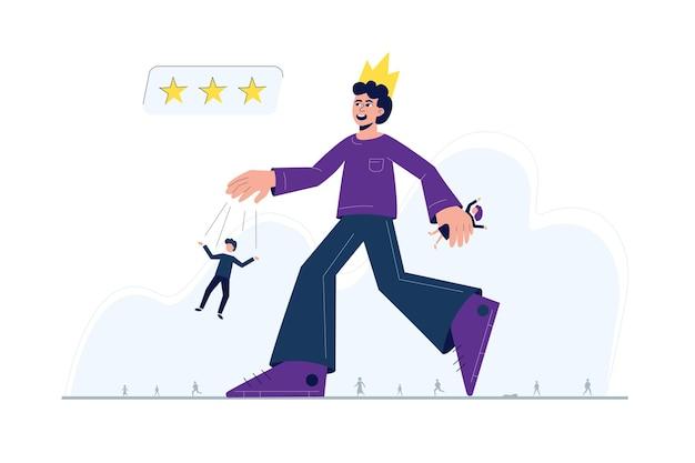 Um homem com uma coroa na cabeça, controlando outras pessoas, andando no meio de uma multidão - uma metáfora para transtorno de personalidade narcisista. Vetor Premium