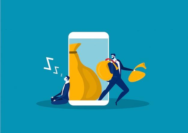 Um homem com uma mão quer roubar informações no telefone inteligente. design plano.