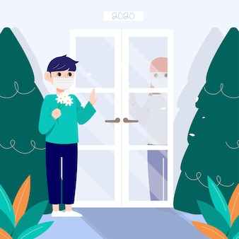 Um homem com uma máscara falando com uma mulher está entre a porta.
