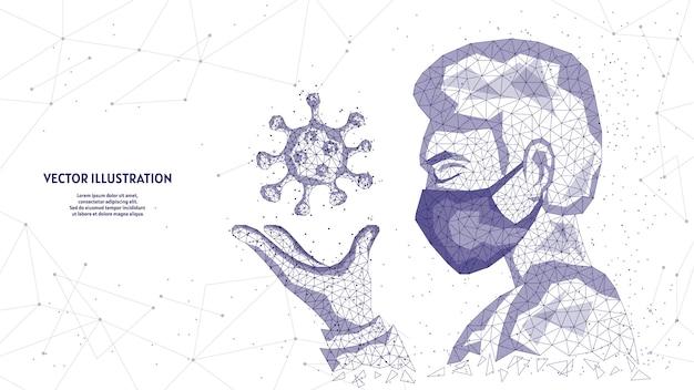 Um homem com uma máscara médica tem um vírus na mão. conceito de coronavírus covid-19, pandemia infecciosa, tecnologia médica inovadora. ilustração de estrutura de arame de baixo poli.