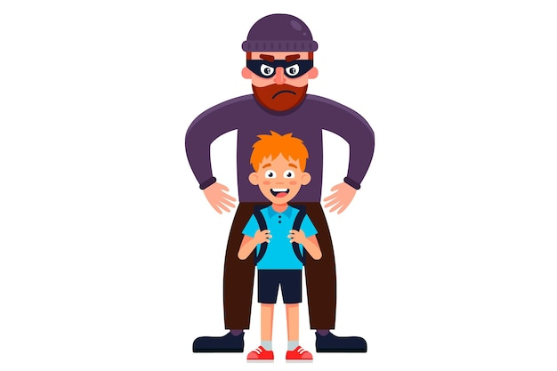 Um homem com uma máscara sequestra um menino. ilustração de personagem plana.