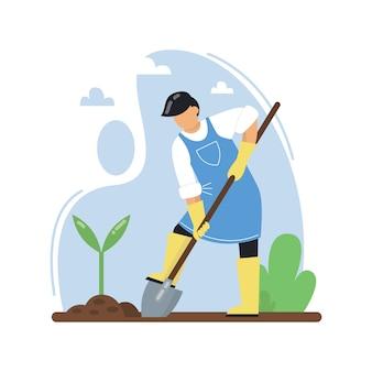 Um homem com uma pá planta mudas. fazendeiro plantando legumes usando uma pá. conceito de jardinagem, agricultura. ilustração plana.