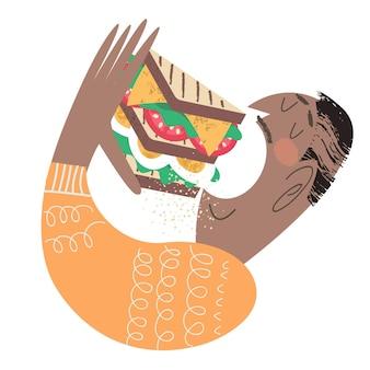 Um homem come um sanduíche muito grande. ilustração em vetor engraçada em estilo cartoon plana