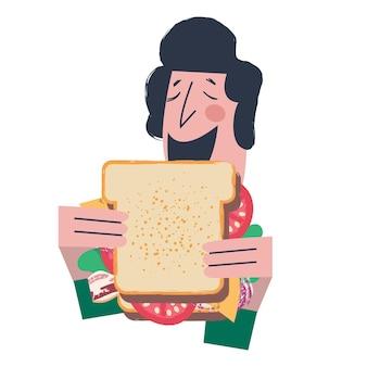 Um homem come um sanduíche muito grande. ilustração em vetor engraçada no estilo cartoon plana. isolado em um fundo branco.