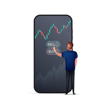 Um homem compra ações ou moeda na bolsa de valores por telefone.