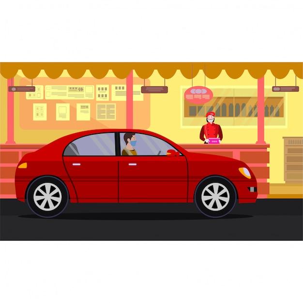 Um homem comprando suas refeições por meio da ilustração drive thru