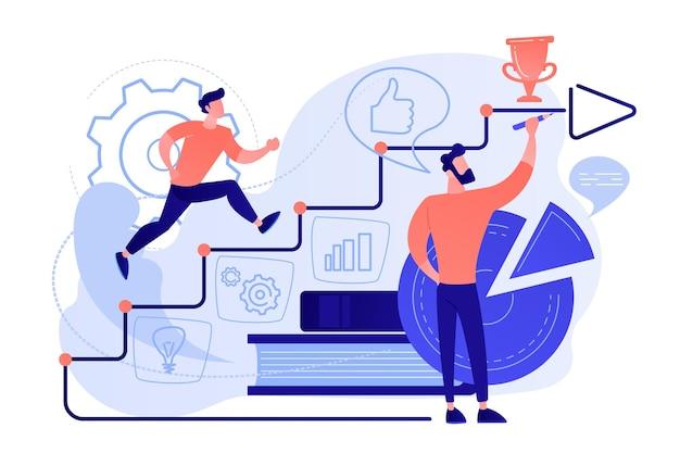 Um homem correndo até as escadas desenhadas à mão como um conceito de treinamento empresarial de coaching