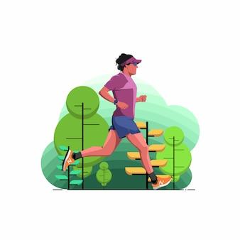 Um homem correndo no parque