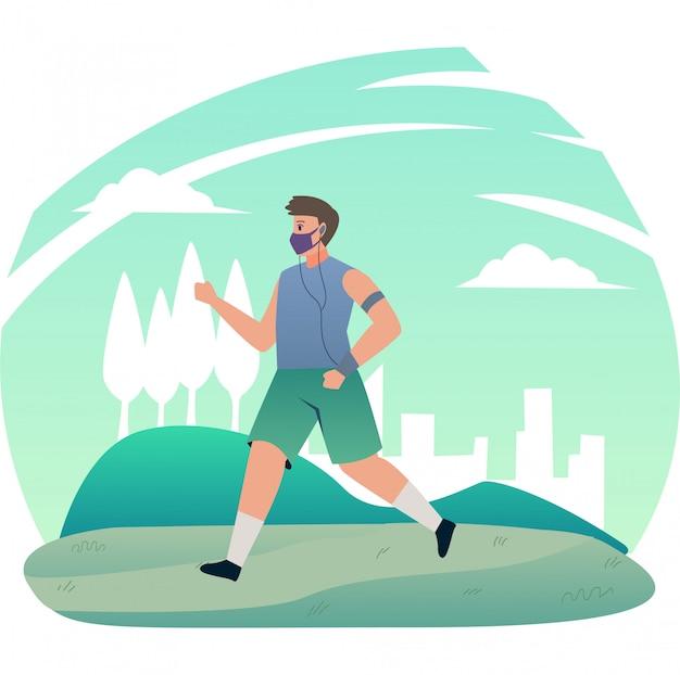 Um homem correndo para fora enquanto usa uma máscara médica