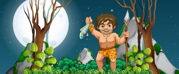 Um homem das cavernas à caça de comida