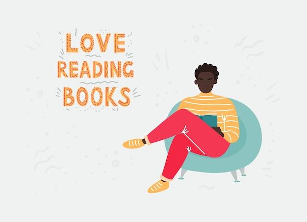 Um homem de cabelo escuro com uma roupa brilhante, sentado em uma cadeira azul e lendo um livro. ilustração plana dos desenhos animados.
