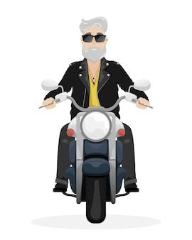 Um homem de cabelos grisalhos e barba em uma motocicleta. um homem de óculos escuros e jaqueta de couro. ilustração dos desenhos animados