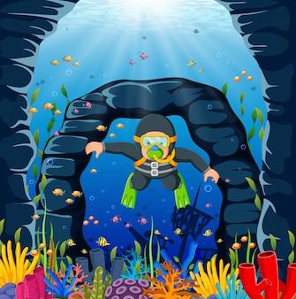 Um homem de mergulhador está usando o pano de natação cinza e sapatos de sapo verde