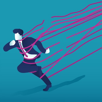 Um homem de negócios correu para o sucesso através de barreiras de corda.
