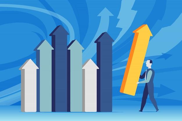 Um homem de negócios define as estatísticas de vendas