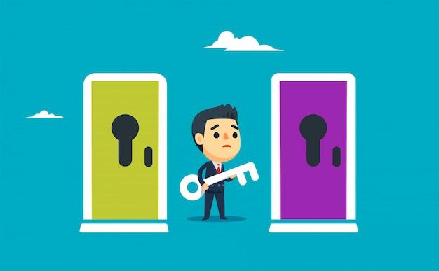Um homem de negócios é confundir entre duas portas. ilustração vetorial