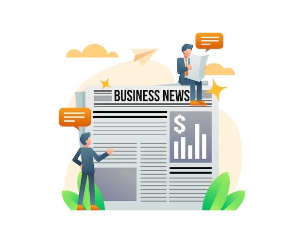 Um homem de negócios lendo um conceito de ilustração de jornal
