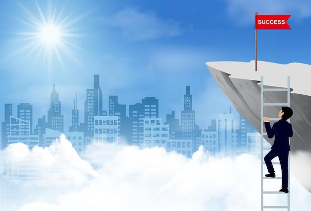 Um homem de negócios subiu as escadas, vá para a bandeira vermelha no penhasco, vá para o objetivo e o sucesso financeiro das empresas