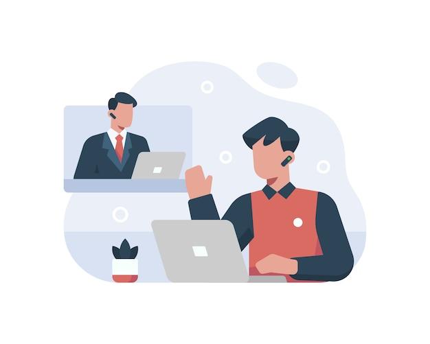 Um homem de negócios trabalhando em casa e fazendo videoconferência com seu chefe em um laptop