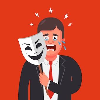 Um homem de terno esconde suas emoções atrás de uma máscara. esconder lágrimas. personagem plano.