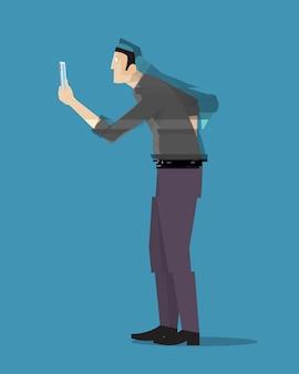 Um homem desaparecendo enquanto olha para seu telefone