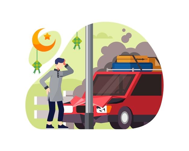 Um homem dirige um carro e bate em um poste quando ele quer ir no feriado do ramadã