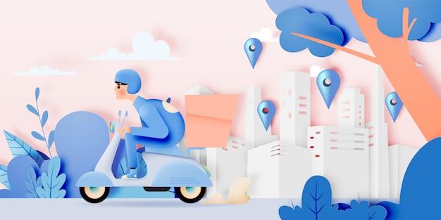 Um homem dirige uma moto de scooter para negócios de entrega