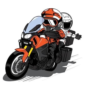 Um homem dirigindo e uma mulher andando em uma motocicleta touringwith speeding