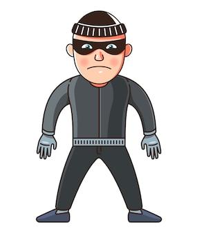 Um homem é um ladrão em pleno crescimento. ilustração de personagem