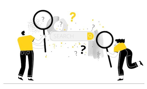 Um homem e uma mulher com lentes de aumento procuram respostas para perguntas na barra de pesquisa